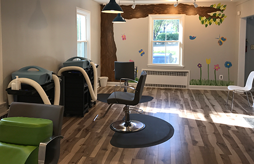 The inside treatment area of Lice Clinics of America Baltimore clinic.