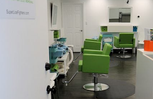 The inside treatment area of Lice Clinics of America Rockville.